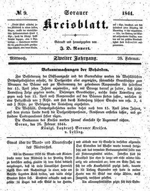 Sorauer Kreisblatt vom 28.02.1844