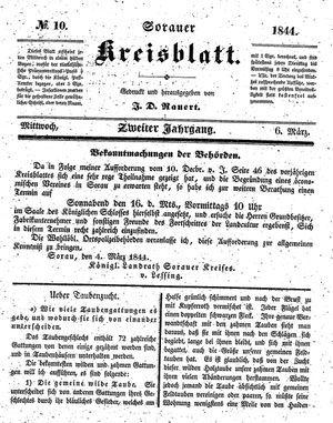 Sorauer Kreisblatt vom 06.03.1844