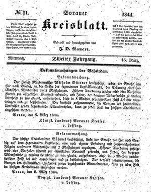 Sorauer Kreisblatt vom 13.03.1844