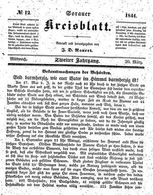 Sorauer Kreisblatt vom 20.03.1844