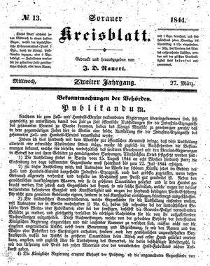 Sorauer Kreisblatt vom 27.03.1844