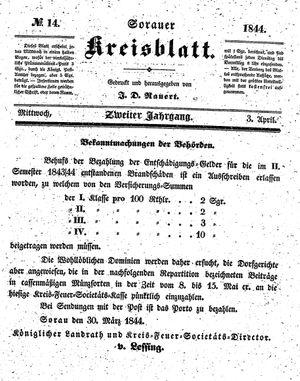 Sorauer Kreisblatt vom 03.04.1844
