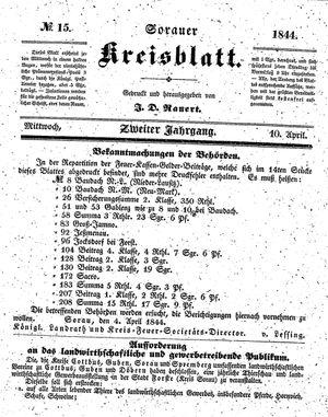 Sorauer Kreisblatt vom 10.04.1844