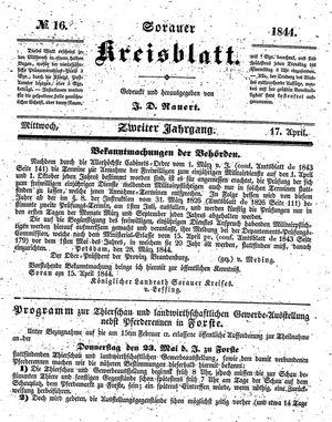 Sorauer Kreisblatt vom 17.04.1844