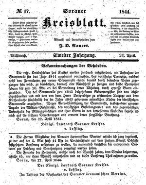 Sorauer Kreisblatt vom 24.04.1844