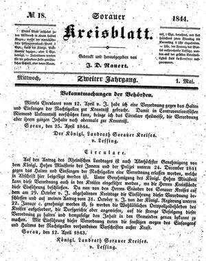 Sorauer Kreisblatt vom 01.05.1844