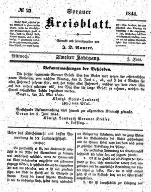 Sorauer Kreisblatt vom 05.06.1844