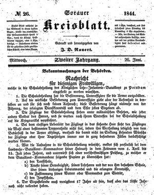 Sorauer Kreisblatt vom 26.06.1844