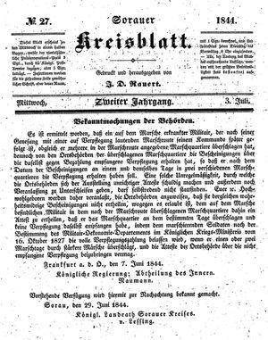 Sorauer Kreisblatt vom 03.07.1844