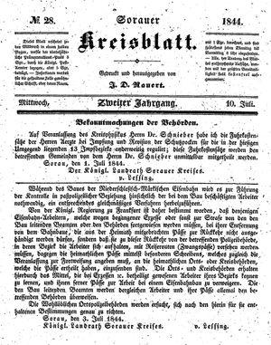 Sorauer Kreisblatt vom 10.07.1844