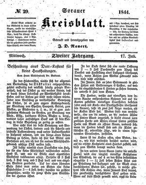 Sorauer Kreisblatt vom 17.07.1844