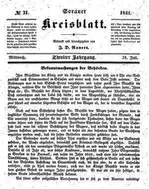 Sorauer Kreisblatt vom 31.07.1844