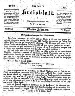 Sorauer Kreisblatt vom 07.08.1844