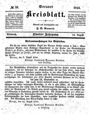 Sorauer Kreisblatt vom 14.08.1844