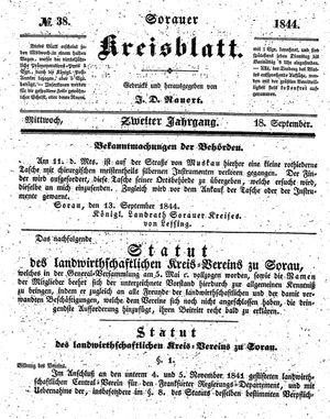 Sorauer Kreisblatt vom 18.09.1844