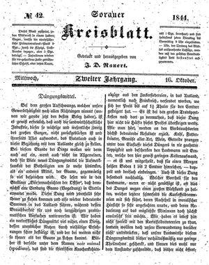 Sorauer Kreisblatt vom 16.10.1844