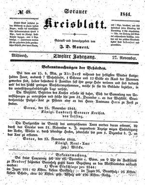 Sorauer Kreisblatt vom 27.11.1844