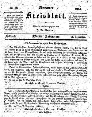 Sorauer Kreisblatt vom 11.12.1844