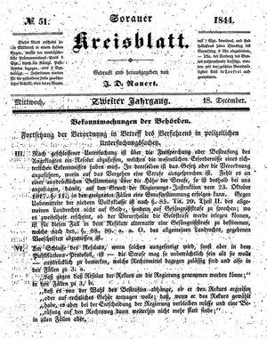 Sorauer Kreisblatt on Dec 18, 1844