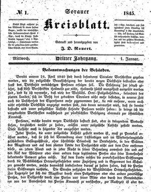 Sorauer Kreisblatt on Jan 1, 1845