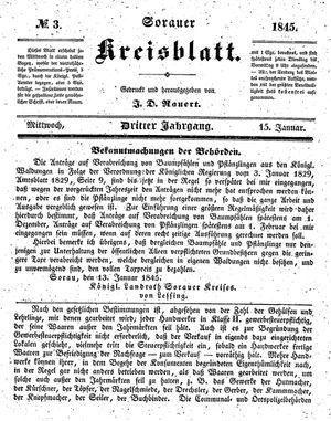 Sorauer Kreisblatt vom 15.01.1845