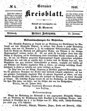 Sorauer Kreisblatt on Jan 22, 1845