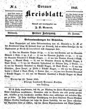 Sorauer Kreisblatt vom 29.01.1845