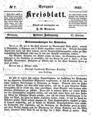 Sorauer Kreisblatt vom 12.02.1845