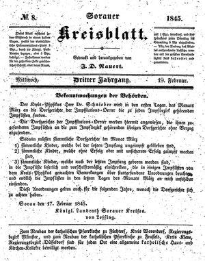 Sorauer Kreisblatt vom 19.02.1845