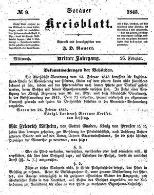 Sorauer Kreisblatt vom 26.02.1845