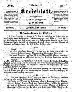 Sorauer Kreisblatt vom 12.03.1845