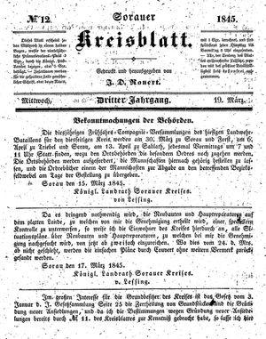 Sorauer Kreisblatt vom 19.03.1845