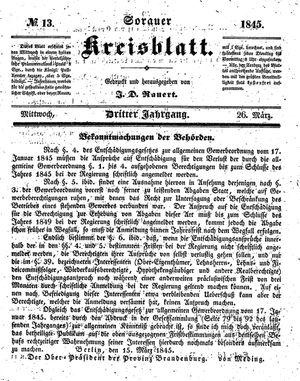 Sorauer Kreisblatt vom 26.03.1845