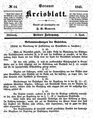 Sorauer Kreisblatt vom 02.04.1845