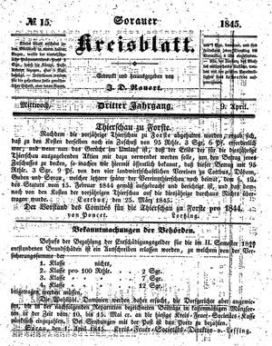 Sorauer Kreisblatt vom 09.04.1845