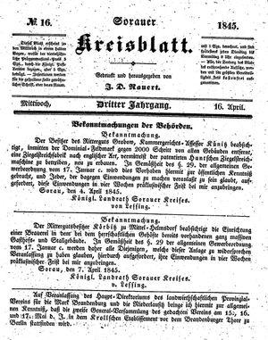 Sorauer Kreisblatt vom 16.04.1845