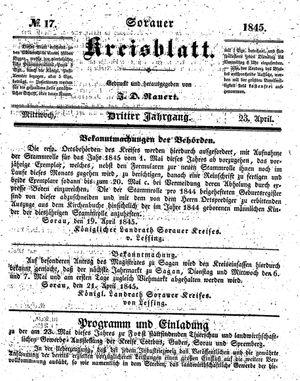 Sorauer Kreisblatt on Apr 23, 1845