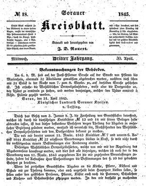 Sorauer Kreisblatt vom 30.04.1845
