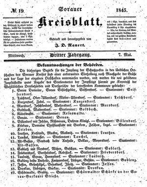 Sorauer Kreisblatt vom 07.05.1845