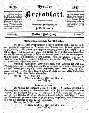Sorauer Kreisblatt on May 14, 1845