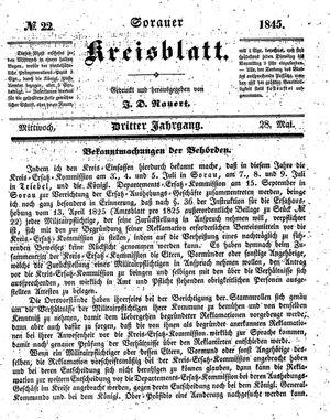 Sorauer Kreisblatt vom 28.05.1845