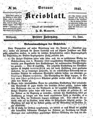 Sorauer Kreisblatt vom 25.06.1845