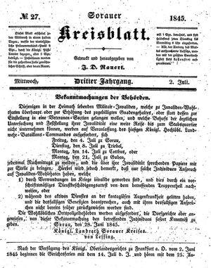 Sorauer Kreisblatt vom 02.07.1845