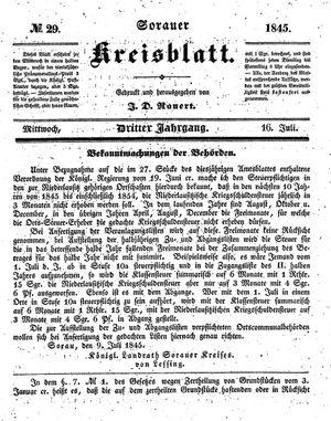 Sorauer Kreisblatt vom 16.07.1845