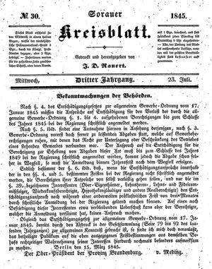 Sorauer Kreisblatt vom 23.07.1845
