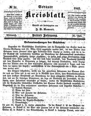 Sorauer Kreisblatt vom 30.07.1845