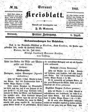 Sorauer Kreisblatt vom 06.08.1845
