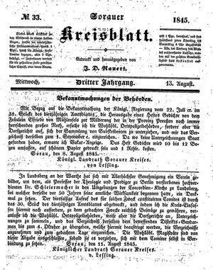 Sorauer Kreisblatt vom 13.08.1845