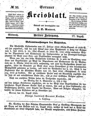 Sorauer Kreisblatt vom 27.08.1845