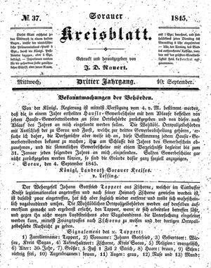 Sorauer Kreisblatt vom 10.09.1845